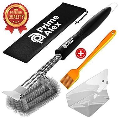 Grill Brush - Grill Brush and Scraper - Barbecue Safe - BBQ Cleaner Bristles - BONUS Basting Brush