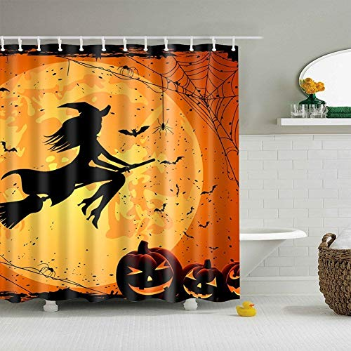 Full Moon Halloween Witch Waterproof Bath Curtain