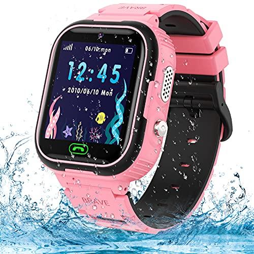 Reloj Inteligente para Niños, Smartwatch Telefono Impermeable con SOS, LBS, Comunicación Bidireccional Cámara Chat de Voz, Reloj Infantil Regalo para Niño Niña de 3-12 Años (Blue) (Pink)
