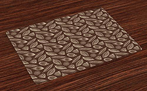 ABAKUHAUS Kakao Platzmatten, Organische blühende erntende Kakaobohnen-Samen-Tropische Pflanzen-frisches exotisches Design, Untersetzer aus Waschbaren Stoff Tischdekoration mit Druck, Schokolade Creme