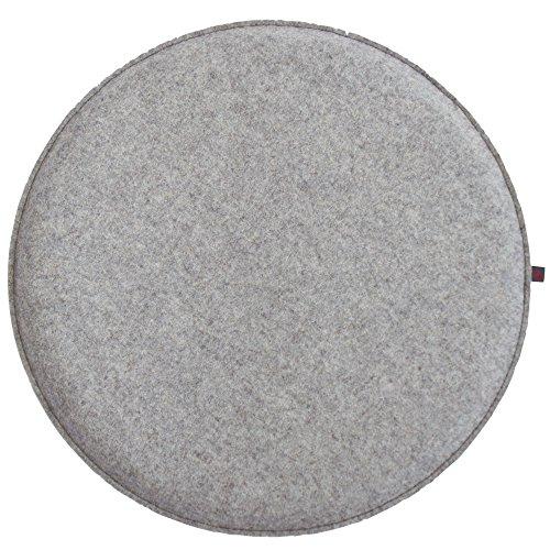 ebos Wollfilz Sitzkissen rund, Ø40 cm ✓ handgefertigt ✓ 100% Wollfilz ✓ | Hochwertiges Stuhlkissen, Sitzpolster mit Füllung | Schönes Stuhl-Polster, Filz-Kissen, Stuhl-Auflage (Hellgrau/Hellgrau)