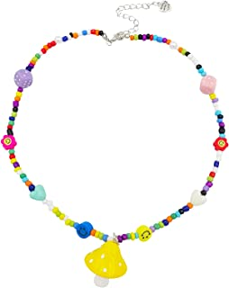 yfstyle Y2K Necklace Colorful Beaded Necklace Y2K Smiley Face Necklace with Heart Charms Mushroom Charms Seed Bead Mushroo...