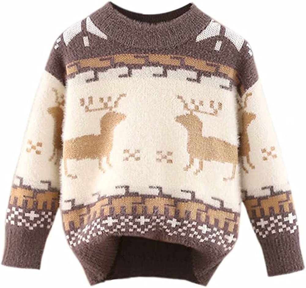BINPAW Boys Girls Mock Neck Chrismas Deer Print Furry Sweater