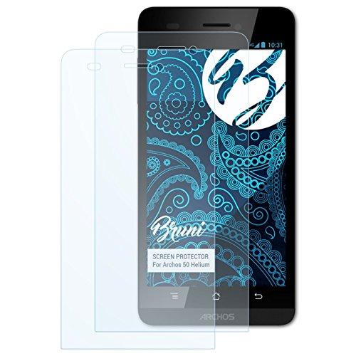 Bruni Schutzfolie kompatibel mit Archos 50 Helium Folie, glasklare Bildschirmschutzfolie (2X)