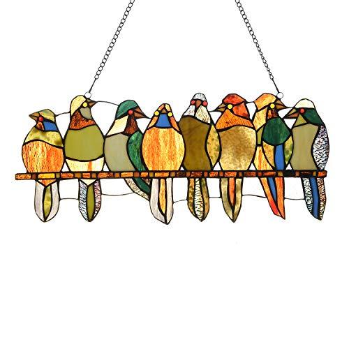 Capulina Buntglasscheibe, modernes Buntglas-Fensterbehang mit Kette – 8 Vögel in Farbe Glas Suncacthers für Fensterbehandlungen – abstrakte Kunst Stil (B x H) 45,7 x 63,5 cm