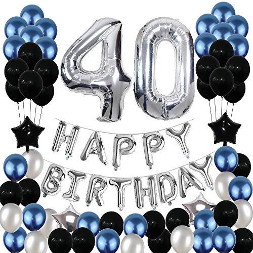 Yoart 40. Geburtstag Dekorationen Blau und Silber Schwarz Geburtstagsparty Dekoration Luftballons für Männer Frauen Party Supplies Foil Star Balloons 80pcs