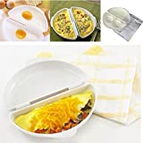 Aalborg125 Two Eggs Microwave Omelet Cooker Pan Microweavable Cooker Omelette Eggs Steamer Home Kitchen