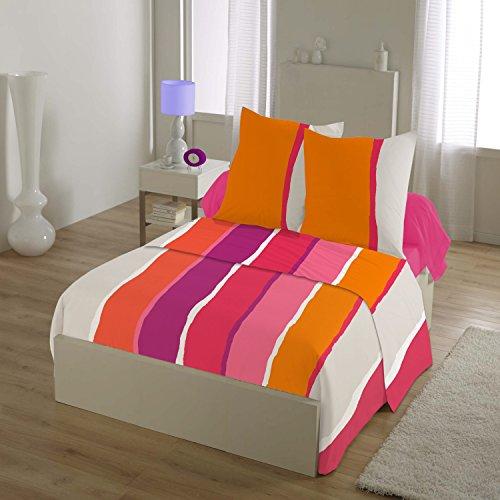 HOME LINGE PASSION Parure de Drap 4 Pièces 240x300 cm, 57 Fils Free Stripes, Coton, Orange