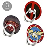 Phone Ring Stand, Superheroes [3 Pack] 360 Rotation Cell Phone Kickstand Finger Grip Holder Mount for iPhone 6s/6 Plus/8/7 Plus, iPhone X, Samsung Galaxy S9/S9 Plus/Note 9, Smartphone and Tablet