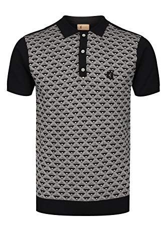 Gabicci Sunrise Pattern Front Polo Shirt | Black Medium