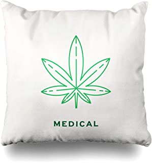 Ahawoso Throw Pillow Cover Line Green Leaf Marijuana Cannabis Weed Hemp Outline Simple Abstract Design Home Decor Pillowcase Square Size 16 x 16 Inches Zippered Cushion Case