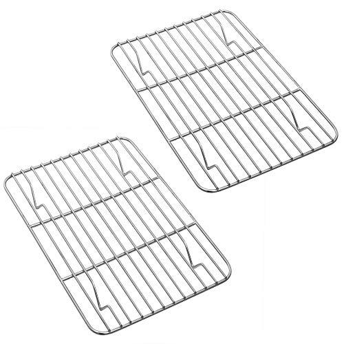 P&P CHEF - Juego de 2 repisas de acero inoxidable para hornear, asar y secar a la parrilla, rectangulares de 15.3 x 11.25 x 0.6 pulgadas, aptos para horno y lavavajillas.