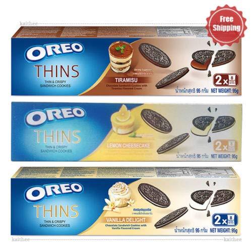 Oreo Thins Chocolate Sandwich Tiramisu, Vanilla Delight, Lemon Cheesecake Cookies 95 g. 3 Flavored PACK