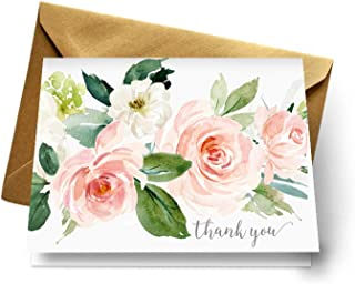 Graceful Floral Thank You Cards and Gold Envelopes (Pack of 20) Perfect for Weddings Baby Shower Everyday or Special Celebrations