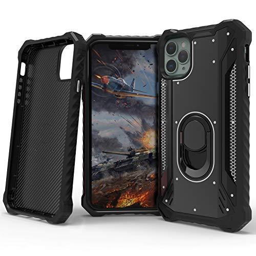MingWei Schutzhülle für iPhone 11 Pro Max, Metallpanzer Hülle [360 ° Kickstand-Drehring] Carbonfaser-Abdeckung [Super Protection] [Magnetische Autohalterung] (iPhone 11 Pro Max, Schwarz)