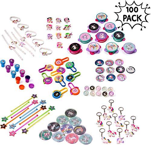 Paquete de 100 Juguetes a Granel para Fiestas de Unicornio - Gran selección surtida, ideal para rellenos de bolsas de fiesta, premios, piñatas, Navidad.
