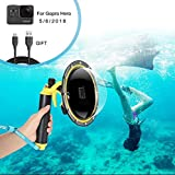 Dome Port Boîtier étanche pour GoPro Hero 7 6 5 2018, Boîtier étanche pour GoPro Accessoire Avec Pistolet à gâchette et Flottant Grip Photographie Sous-Marine. (For GoPro Hero 5 6 7 2018)