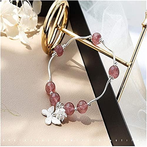 Pulseras con cuentas de piedras preciosas premium Feng shui pulsera natural fresa cristal 925 plata mariposa brazalete buena suerte afortunado durazno flor rico amuleto pulsera para mujeres, Brazalete
