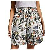 Short Femmes Ete Casual Bermuda Pantalons Court Mode Lin Corde Attacher Uni Couleur Plage Short avec Poches