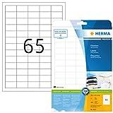 Herma 5027 - Etiquetas adhesivas (1625 unidades, 65 en cada hoja, rectángulares, 38,1 x 21,2 mm), color blanco