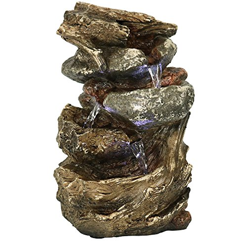 Sunnydaze Tiered Rock and Log Tabletop Fountain with LED Lights, 10.5 Inch