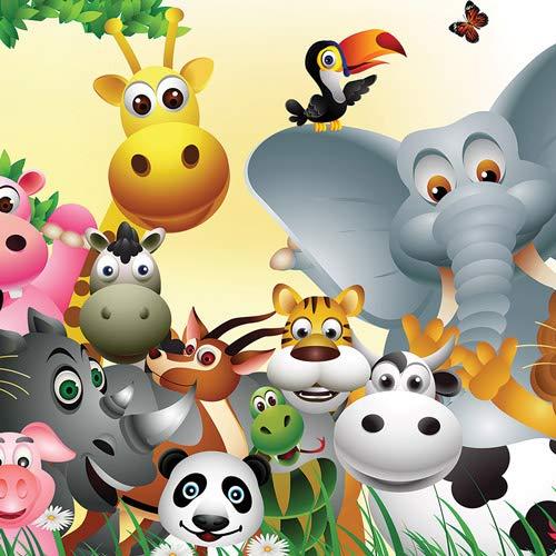 Tier Dschungel Tier Elefant Kuh Schwein - Forwall - Fototapete - Tapete - Fotomural - Mural Wandbild - (693WM) - XXL - 312cm x 219cm - VLIES (EasyInstall) - 3 Pieces