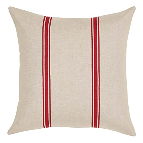 "VHC Brands Americana Farmhouse Pillows & Throws-Charlotte Tan 16"" x 16"" Pillow, Rouge"