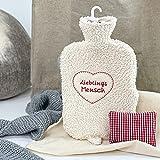 8-Natur Lieblingsmensch - Bolsa de agua caliente ecológica (2 L, con cojín de hierbas y funda de felpa muy suave de algodón ecológico y piel de cordero, certificado BS1970:2012)