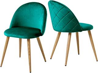 CLIPOP Juego de 2 sillas de comedor de terciopelo con respaldo y patas de metal resistentes para sillas de comedor, sala de estar y dormitorio, sillas de cocina verdes