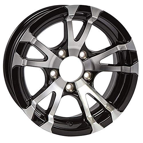 Two Aluminum Trailer Rims Wheels 5 Lug 13 in. Avalanche V-Spoke/Black