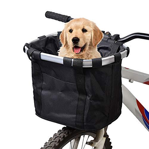 yorten Pet basket for Bike Bicycle Detachable Cycle Front Canvas Basket Carrier Bag Pet Carrier Aluminum Alloy Frame