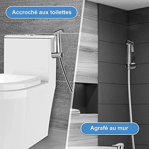 Rovtop Kit Douchette wc, pomme de douche pour le nettoyage de la salle de bain, pulvérisateur pour l'hygiène personnelle quotidienne, jeu de tuyaux mural