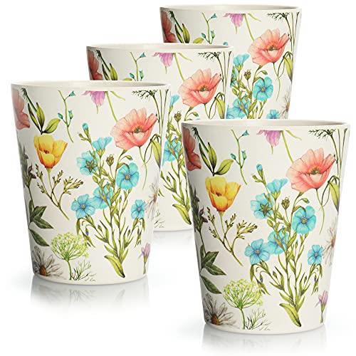 com-four® 4x Trinkbecher mit Blumen-Motiv - Wiederverwendbarer Multifunktionsbecher für Garten, Picknick, Camping - nachhaltig (4 Stück - weiß mit Blumen)