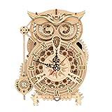 Robotime Owl Alarm Clock 3D Rompecabezas de Madera Temporizador Kits de Modelos de construcción de Montaje automático para Adultos y Kits Péndulo mecánico Artesanía de Madera