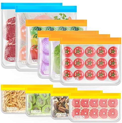 Reusable Storage Bags 10 Pack PEVA Fresh keeping Sealed Bags Leakproof Freezer Bags 2 Gallon product image