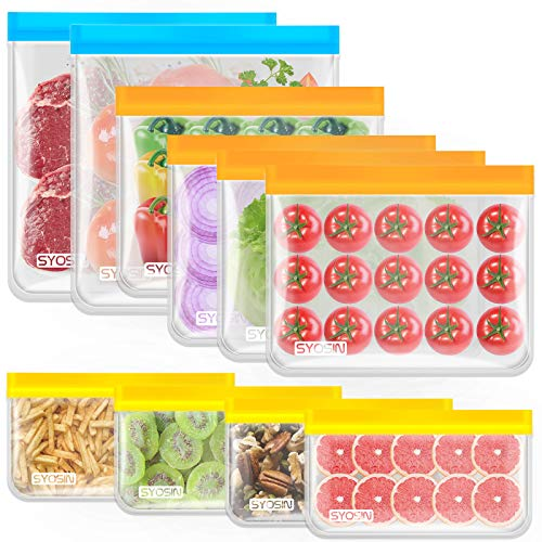 Reusable Storage Bags10 Pack PEVA Freshkeeping Sealed BagsLeakproof Freezer Bags2 Gallon Bags4 Sandwich Bags4 Snack Bags Lunch Bags for vegetables fruit cerealTravel Items home organization