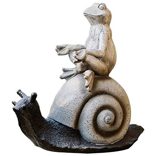 WGGTX Dekorative Ornamente Kreativität Frosch, die eine Schneckengarten-Statue-Verzierung, Figur for Garten und Zuhause reiten Büroeinrichtung