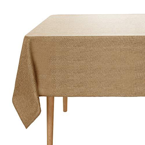 Umi.Essentials Lotuseffekt Tischtuch Wasserabweisend Tischdecke Leinenoptik Tischwäsche 150x150 cm Ockerbraun