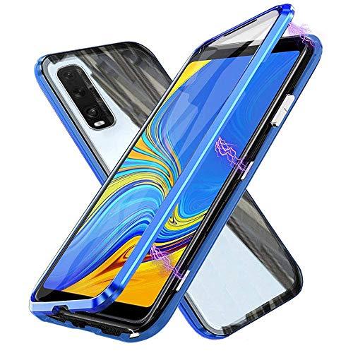 Glas Handyhülle für Oppo Find X2 NEO 5G, [Metall Rahmen] Hülle Magnetisch Adsorption [Doppelseitig 9H Glas] Aluminium Bumper Magnet Hülle Kratzfeste Panzerglasfolie 360 Schutzhülle, Blau