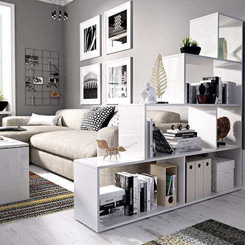 Estantería Blanca diseño Escalera, Funcional 6 Huecos para almacenar fondo especial 29cm