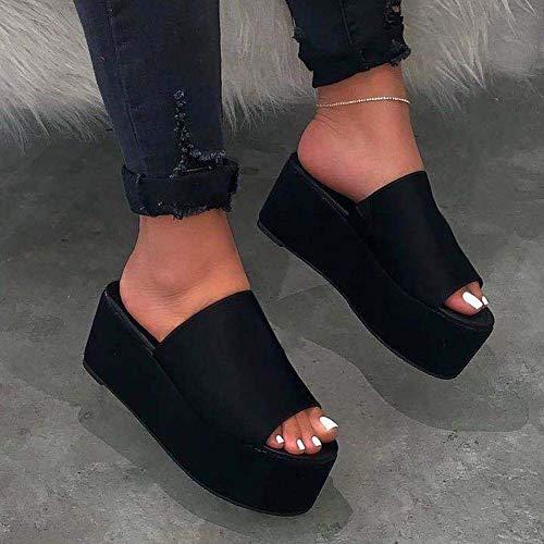 Women Wedges Platform Sandals Summer Open Toe Mules Slippers Ladies Leopard Print...