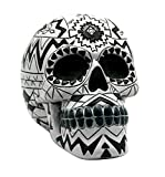 Fantasy Gifts Black and White Aztec Day of the Dead Sugar Skull Coin Bank Dia De Los Muertos