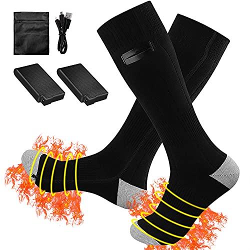 Beheizte Socken mit Batterie, HATMIG Fusswärmer Elektrisch 3 Dateien Einstellbarer Temperatur Socken Beheizbare Socken für Herren Damen - Grau