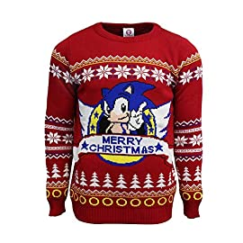 """Numskull Unisex Official Sega 'Classic Sonic' Knitted Christmas Sweater 3 OFFICIALLY LICENSED SEGA APPAREL: Go fast and festive with this Official SEGA Classic Sonic Christmas Jumper. This knitted retro gaming Christmas Jumper features an image of the chilli dog eating hero himself, as well as the iconic rings from Sonic and a whole host of festive feature. UGLY CHRISTMAS SWEATER: If you are looking for the perfect sweater to attend your next """"Ugly Christmas Jumper"""" party, then look no further. The excessive patterns on this knitted jumper are sure to score you some points at your next fun ugly Christmas jumper party, and sure to bring some smiles and laughs as well. XMAS JUMPERS: These Christmas Jumpers come in a range of unisex sizes - XS, S, M L, XL, 2XL, 3XL and 4XL. With so many size options to choose from, you are sure to find the perfectly fitting superhero sweater for your next Ugly Christmas Jumper party."""