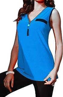 MK988 Womens Summer Solid V Neck Sleeveless With Tassles T-Shirt Blouse Tank Top