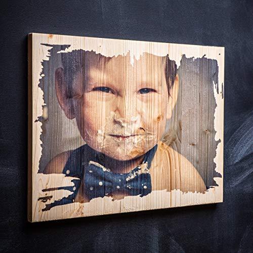 Dein Foto auf Holz bedruckt - Direkter Fotodruck - Vintage-Holz - Personalisiertes Holz-Bild als Fotodruck | Ideal als Hochzeitsgeschenk & Geburtstagsgeschenk Größe: M (20 x 30 cm Hochformat)