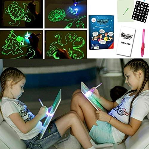 Pizarra Luminosa Pizarras Mágicas para Niños Draw with Light Fun Fluorescence and Luminous Tablero de Escritura Fluorescente LCD Writing Tablet (Size : A5)