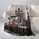 House Decor Beach Blanket London Themed Decor Tower Bridge in The Famous City Urban Life Scenery European Picture Super Soft and Warm, Durabl 70 x 70 Inch Taupe Grey and Red
