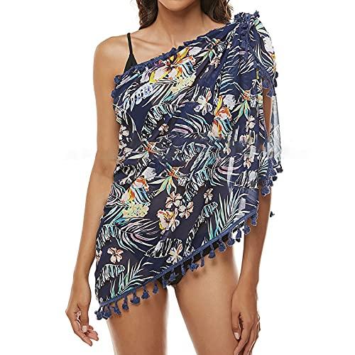Pareo de playa para mujer, falda envolvente, toalla de playa para mujer, bikini, ropa de playa, pareo, chal de verano marine Tallaúnica