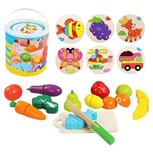 Ballery Cucina Legno per Bambini, 13 Pezzi Cucina Giocattolo per Bambini Gioca Set di Cibo Frutta e Verdura Giocattolo Set con Secchio Giochi Montessori Educativo